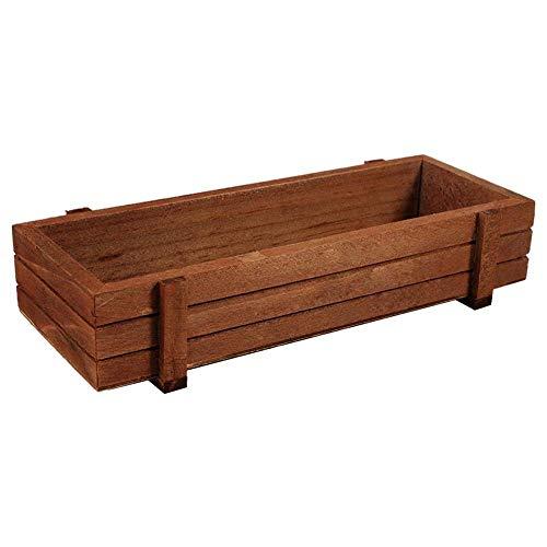 Macetero de madera, rectangular, de madera, para jardín, ventana, maceta, con ventosa,...