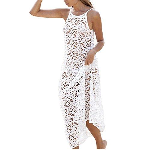 ZEARO Frau Spitze Hohl Häkeln Bademode Badeanzug Bikini Abdeckung Oben Strand Kleid (Stil Abdeckung Bademode)