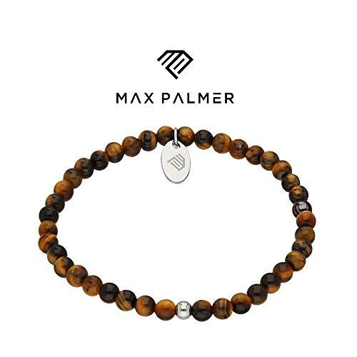 Max Palmer Tigerauge Stein-Armband braun - [01.] - Länge: 17,5cm - Kugelgröße: 4mm -