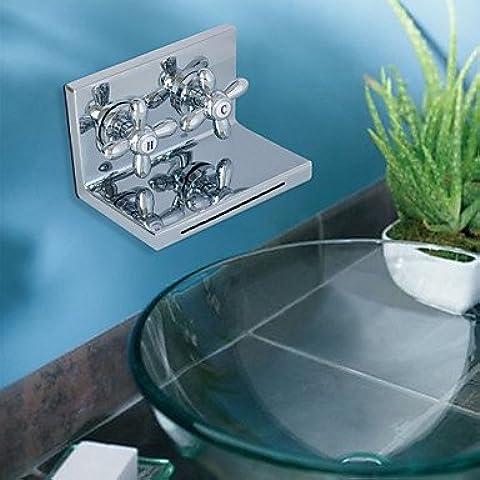 Furesnts casa moderna cocina y baño de cromo grifo cascada empuñadura elipse dos lavamanos grifos,(Estándar G 1/2 puertos manguera