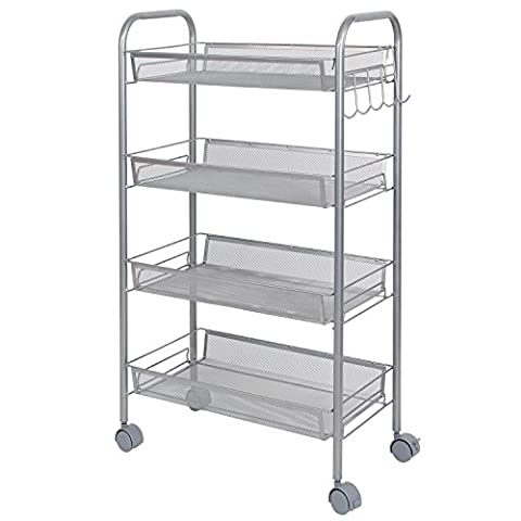 Lifewit Multipurpose Metal Mesh Rolling Cart with Hooks Movable Storage Rack 4-Tier Space Saving Trolley for Bathroom ,Kitchen,