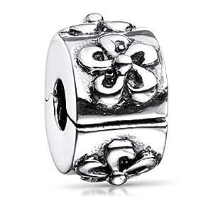 MATERIA Schmuck Stopper Bead antik Element – 925 Silber Stopper Clip mit Wirbel Motiven für Beads Armbänder mit Gewinde #721
