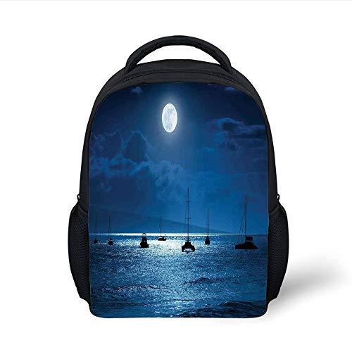 Kids School Backpack Ocean Decor,Dramatic Photo A Nighttime Sky Full Moon Over A Calm Ocean Scene in Maui Hawaii,Navy White Plain Bookbag Travel Daypack