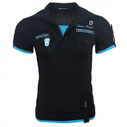 Herren T-Shirt Mix Motive Strass Steine Style Rundhals Kurzarm S M L XL XXL NEU 301 Schwarz/Türkis
