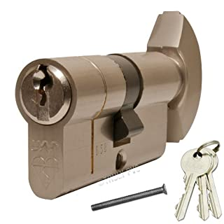 UAP MAX6MUM Anti-Snap Thumbturn Euro Cylinder Nickel 50/45 T (95mm overall) Lock - with 2 extra keys (5 Total) - Kitemarked High Security door lock.