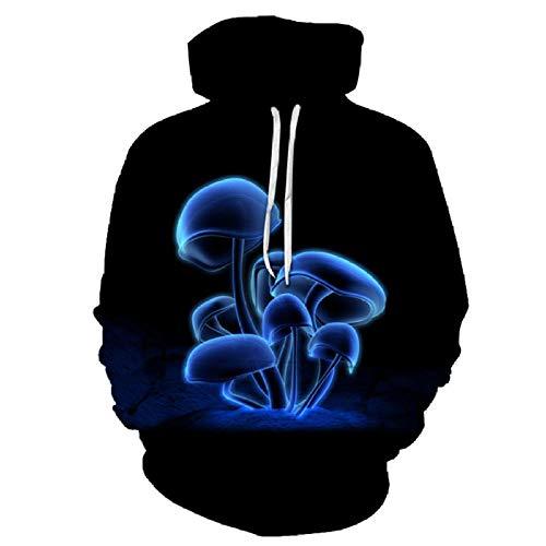 SWEYRT Abstrakte Blaue Pilz-Art- Und Weisemänner/Sweatshirts Der Frauen-3D Hoodies-Herbst-Winter-Dünne Mit Kapuze Pullover Tops-XL