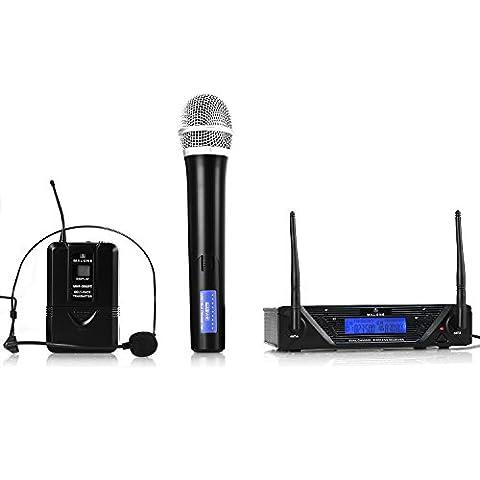 Malone UHF-450 Duo Ensemble micro (Émetteur de poche sans fil avec clip ceinture et affichage LCD, grande autonomie des piles grâce à la construction éco-énergétique)