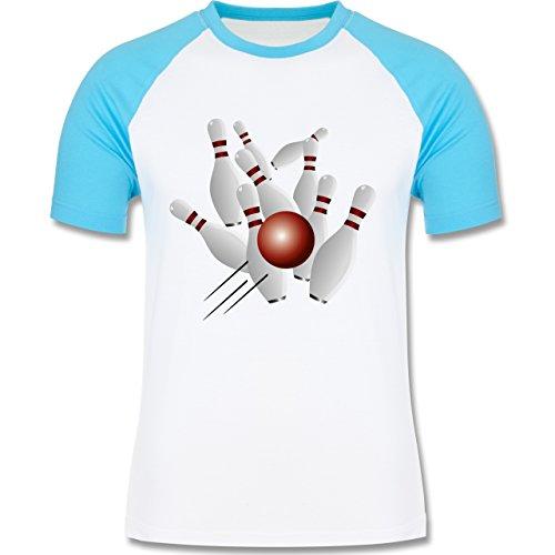 Shirtracer Bowling & Kegeln - Kegeln Alle 9 Kegeln Kugel - Herren Baseball Shirt Weiß/Türkis
