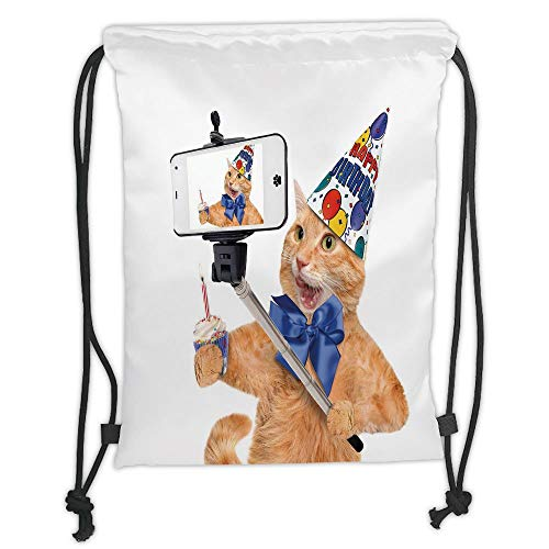 Icndpshorts Funny,Birthday Cat Taking A Selfie Modern Day Kitty Party Anniversary Humor Animal Picture Decorative,Multicolor Soft Satin,5 Liter Capacity,Adjustable St