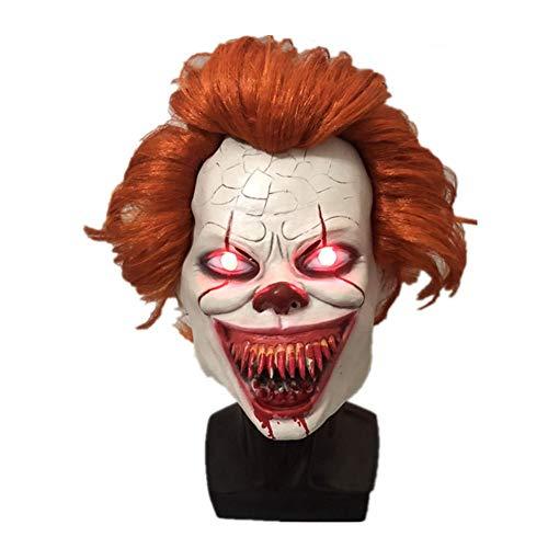 Halloween gruselig leuchten Stephen Maske Kostüm Party Latex gruselig Clown Maske schrecklich Dämon Erwachsenen gruselig Clown Cosplay Requisiten Joker Maske gruselig Clown Maske Cosplay Kostüm Masken (Joker Beängstigend Kostüm)