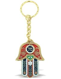 Red Hamsa Luck Keyring With Evil Eye Protection Charm And Travelers Prayer Engraved On The Back In Hebrew