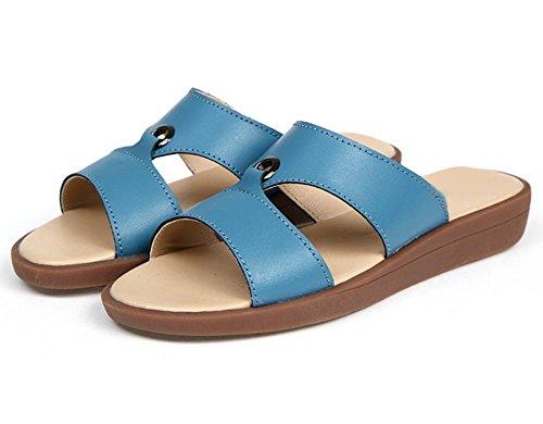 Sommer Sandalen flache Sandalen und Pantoffeln stellt Fuß mit schwerem Boden Strand Pantoffeln Frauen Blue