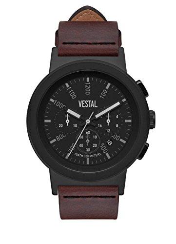 Vestal Reloj de cuarzo de acero inoxidable y cuero, color: marrón (modelo: SLR44CL02.CVBK)