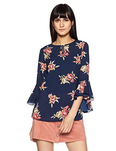 Styleville.in Women's Floral Regular Fit Top (STSF401578-Navy-L)