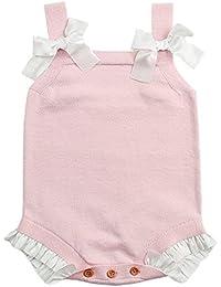 Ropa Bebe niño Invierno,(3M-18M) Chaleco sin Mangas de bebé Chaleco de Punto con Encaje de Punto,Rose Bleu,73 80 90 100