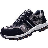Pamray Steel Toe Work Shoes Men Safety Breathable Industrial Sneakers Lightweight Construction Footwear Black 46