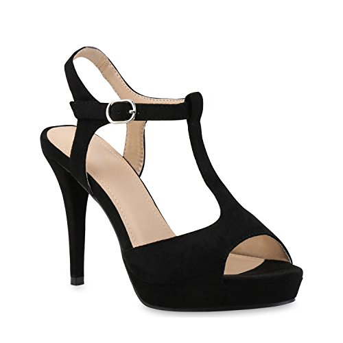 Damen Plateau Sandaletten Strass High Heels Metallic Sandalen Stiletto Abend Spitze Schuhe 121432 Schwarz Velours 39 | Flandell