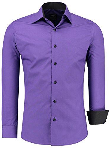 Jeel Langarm Herren Hemd Basic Business Anzug Freizeit Slim Fit Gr S M L XL NEU Lila 6XL -
