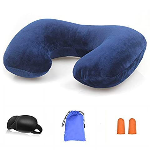 SPAHER Travel Inflatable Airplane Pillow Soft Foldable Portable Neck Pillow Compact Lightweight Head Rest Sleeping (Mask Pouch)