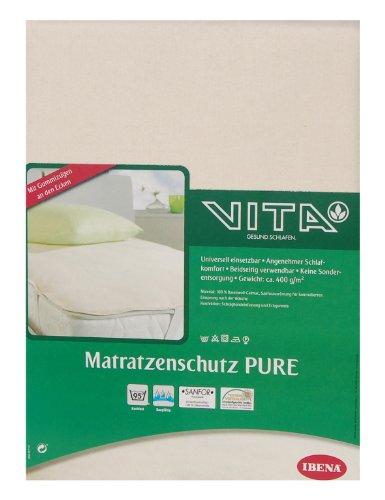 Ibena 5514 Molton Matratzenschutz Pure ca. 100x200 cm hygienisch, angenehm & kochfest aus 100% flauschige Baumwolle Farbe Natur, 1 Stück
