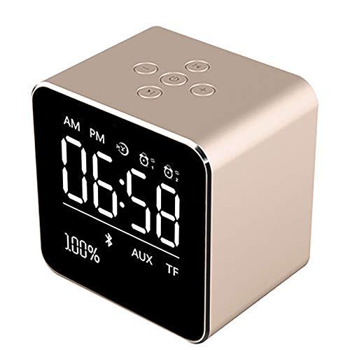 LIGHTOP Funk Uhr Wireless Bluetooth-Lautsprecher mit eingebautem Mikrofon Mini Würfel tragbarer Lautsprecher mit LCD-Display Stereo-Subwoofer für iPhone 6/6S/7 Plus/iPad/iPod Mini (Ipod Uhren)
