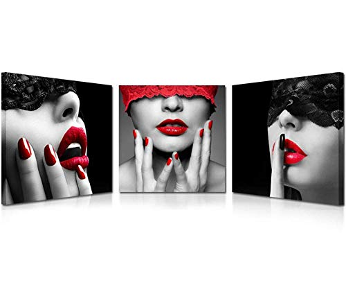 Trapano Pittura Diamante 5D Fai da Te 3 Pezzi Labbra Rosse Donna Scarpe col Tacco Rosse Ricamo Punto Croce Mosaico Decorazioni per la casa