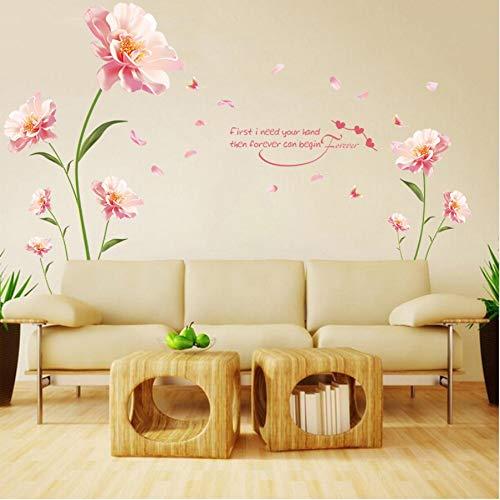 UPUPUPUP 60X90cm Entfernt Wandaufkleber Romantische Blumen Zwischen Dem Warmen Schlafzimmer Hintergrund Dekorative Aufkleber Möbel Wandaufkleber