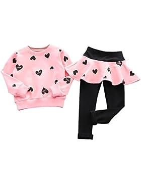Amlaiworld Bambini ragazze sport tuta,Amore cuore maglia + pantaloni gonna