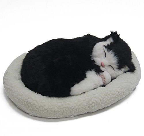 Signstek niedlich lebensecht schlafende Plüschtiere mit Haustierbett (Katze 1)