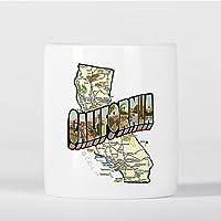 Preisvergleich für California Map Vintage Style San Francisco Los Angeles Spardose