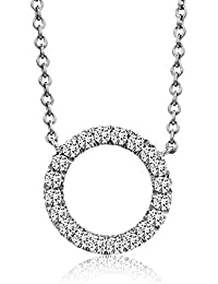 Miore - Collier avec pendentif - Or blanc 9 cts - Diamant 0.1 cts - 45 cm - MY036N