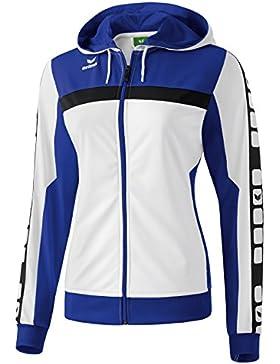 Mujeres Erima chaqueta de entrenamiento de 5 CUBOS con capucha 5-CUBOS Serie blanca / azul índigo / negro, Opciones...