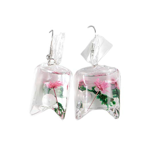 MOTOCO Kreative transparente Tritonshorn Ohrringe Harz Blume Ohranhänger Ohrschmuck(D)