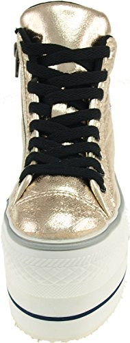 Maxstar CN9 Particulièrement semelle en cuir synthétique Fermeture Éclair Double Baskets chaussures Or - doré