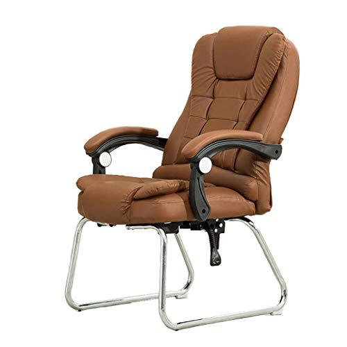 YWARX Hohe Rückenlehne Bürostuhl aus PU, Polsterung Chefsessel mit Massagefunktion und klappbaren Armlehnen-Fixier- und Wippfunktion,Amber,WithRemote - Leder Back Spiel-stuhl
