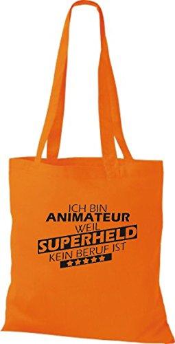 Shirtstown Stoffbeutel Ich bin Animateur, weil Superheld kein Beruf ist orange