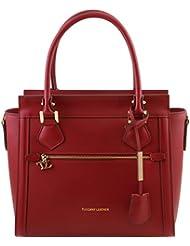 Tuscany Leather - Lara - Sac à main en cuir Ruga avec zip frontal - Grand modèle - Rouge