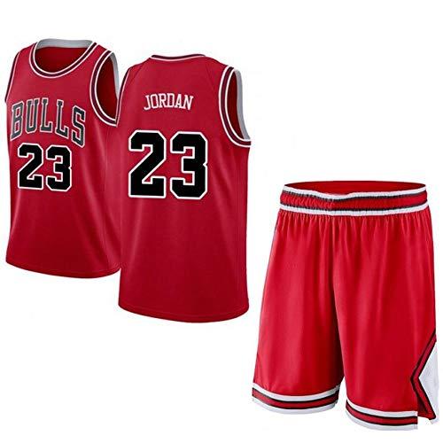 Jordan # 23 Männer Basketball Jersey - NBA Chicago Bulls, ärmellose T-Shirts Jersey Und Kurze Hosen,Red-XS