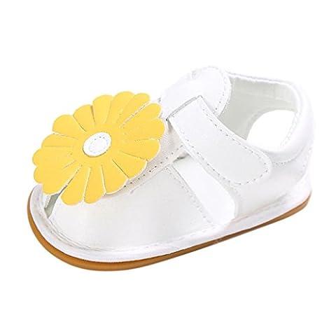 Chaussures Enfant Longra Bébé Filles Fleurs Conception Chaussures enfant Semelle souple Chaussures Des sandales (0~6M, Blanc)
