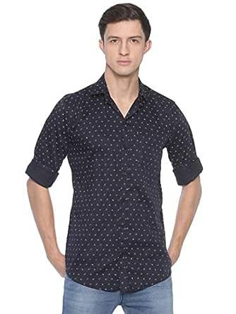 LEVIZO Men's 100% Cotton Designer Printed Full Sleeves Regular Fit Shirt Blueish Black Size Small