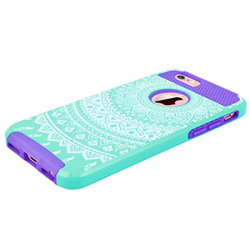 "WE LOVE CASE iPhone 6 Plus / 6s Plus Hülle Blumen Mandala Wabe 2 in 1 iPhone 6 Plus / 6s Plus 5,5"" Hülle Minze Grün Schutzhülle Handyhülle Handytasche Handycover PC Harte Case Anti-Scratch Handy Tasch Mint green + purple"