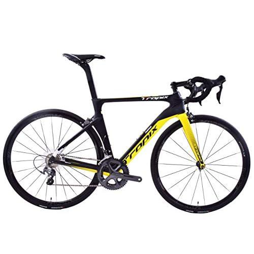 41VJMcQWylL. SS500  - Tropix Paris 700c Wheel Road Racing Bike 52cm Lightweight Carbon Fibre Frame Shimano Ultegra 22 Speed Black/Yellow 8.3 Kgs