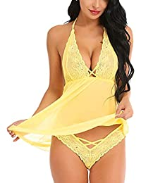 Xs and Os Women's Halter Lace Babydoll Backless Lingerie Set with Lace Panty (Gift Wrapped)
