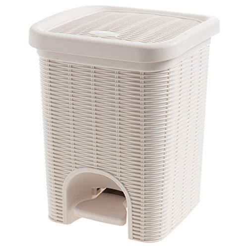 Sgsh ROM Mülleimer Eco Friendly Treteimer Rattan Wicker Effekt Für Küche Bad Büro Mit Herausnehmbarem Korb, 25 * 25 * 32Cm,White (Wicker White Mülltonne)