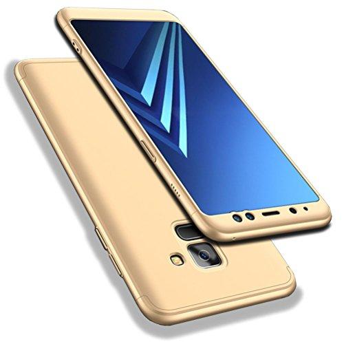 Bling-bling-felgen (Galaxy A8 2018 Hülle, WindCase Abdeckung Tasche Anti Fingerabdruck Stoßfest Anti-rutsch 3 in1 Harte PC Schutzhülle für Samsung Galaxy A8 2018 Gold)