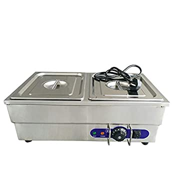 Kitchen Appliance Stainless Steel Electric Bain Marie Cafe Food Warmer 2 * 1/2 Pans & Lids