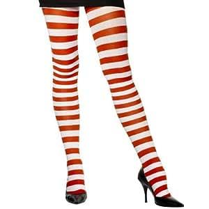 Collants rayés rouge et blanc femme