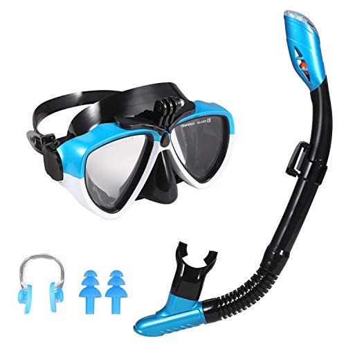 Ulikey Set Snorkeling, Maschera da Immersione, Anti-Fog Maschera Snorkeling, Kit Snorkeling Professionale per Adulti(Nero Blu)