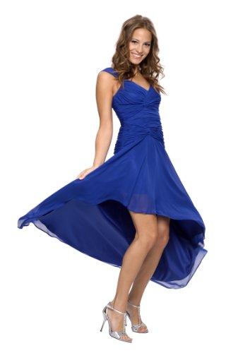 Astrapahl Damen Cocktail Kleid mit schönen Raffungen, Knielang, Einfarbig, Gr. 38, Weiß