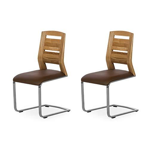 Alkove - Hayes – Moderner Massivholzstühle 2er Set mit gepolsterter Sitzfläche, Wildeiche